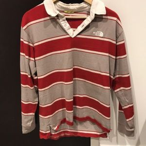 NORTHFACE RUGBY SHIRT RED AND GRAY STRIPED